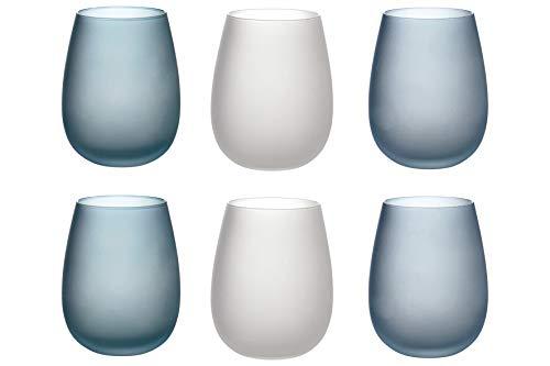 Villa d'Este Home Tivoli Blue Dream Set 6 bicchieri acqua frosted in vetro 500 ml