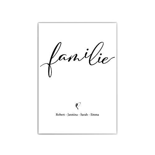 Personalisierte Poster Familie - Typographie - a4 / 30x40 cm - Herz - Geschenk Familien Namen - persönliches Geschenk - Familienbild - ohne Bilderrahmen