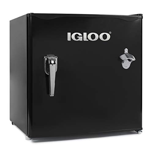 Igloo IRF16RSBK Classic Single Door Chrome Handle & Bottle Opener Compact Refrigerator with Freezer, Slide out Glass Shelf, Perfect for Homes, Offices, Dorms, 1.6 Cu.Ft, Black