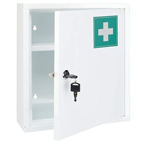 HI Botiquín Acero Inoxidable Primeros Auxilios Cuidados Salud Accesorios Baño Complementos Casa Hogar Materiales Clínicos 31,5x10x36 cm Blanco y Verde