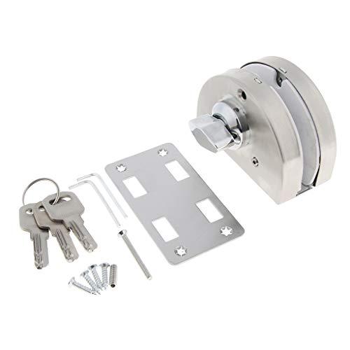 joyMerit Cerradura de Puerta de Vidrio de Acero Inoxidable Lados Dobles Pestillo de Cerradura de Puerta Abierta X-250D