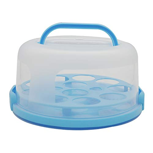 10 Inch Portable Round Cake Carrier with Handle Cupcake Holder Tray Pie Saver Cupcake Container Translucent Dome for Transporting Cakes, Cupcakes, Cookies, Pies, or Other Desserts (Blue)
