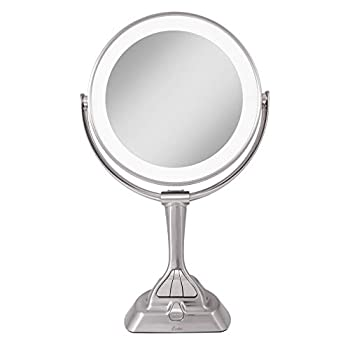 Zadro LED Variable 3-Color Lighted Dual-Sided 10X/1X Magnification Vanity Makeup Mirror for Bedroom Bathroom and Tabletop in Satin Nickel