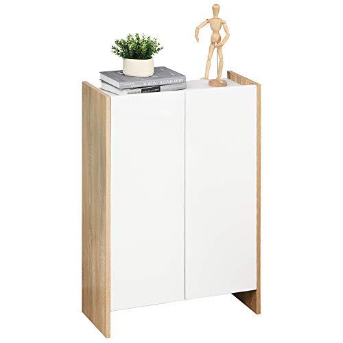 HOMCOM Badzimmerschrank, Badkommode, Multifunktionsschrank Lagerschrank mit 2 Tür und 2 Regale Spanplatte, Weiß+Eiche, 60 x 25 x 90 cm
