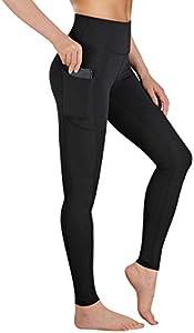 Gimdumasa Pantalón Deportivo de Mujer Cintura Alta Leggings Mallas para Running Training Fitness Estiramiento Yoga y Pilates GI188 (Negro Mate, M)