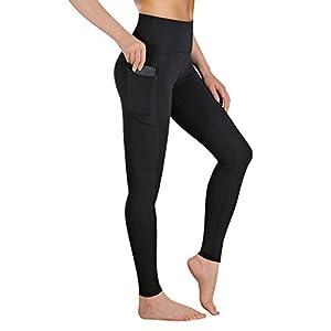 Gimdumasa Pantalón Deportivo de Mujer Cintura Alta Leggings Mallas para Running Training Fitness Estiramiento Yoga y Pilates GI188 (Negro, M)
