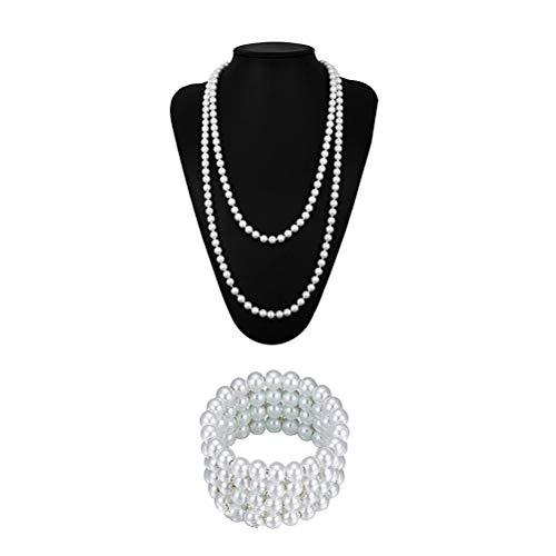 LUOEM Collar y Pulsera de Perlas de los años 20 Joyas de fantasía Vintage Collar Largo Perlas Accesorios de Cosplay para Mujeres