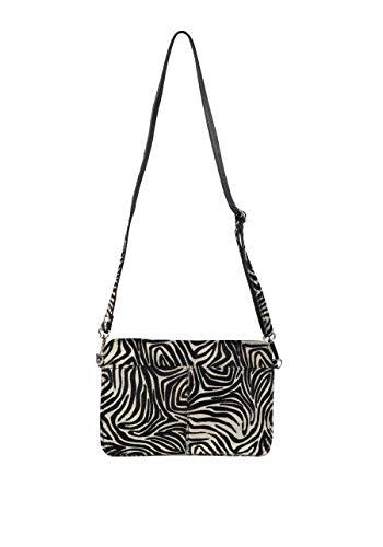 Marc Aurel Tasche Schulterriemen Zipper Leder Zebra-Muster schwarz