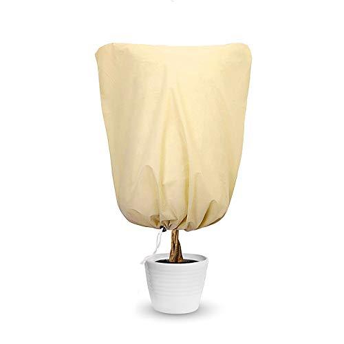 Yue Cubierta Protectora contra Heladas de Plantas, 2 Paquetes Funda Protectora para Plantas de Invierno con Cordón, Se Utiliza para Proteger Plantas, Plantas en Macetas, 100 × 100 cm (Beige) (1 PCS)