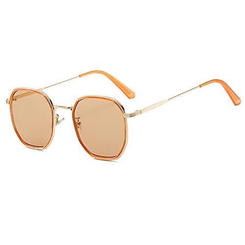 Gafas De Sol Gafas De Sol Cuadradas De Lujo para Mujeres Y Hombres, Gafas De Sol con Montura De Metal Vintage para Hombres Y Mujeres, Montura De Gafas Transparentes Uv400 C5Gold-Lightbrown
