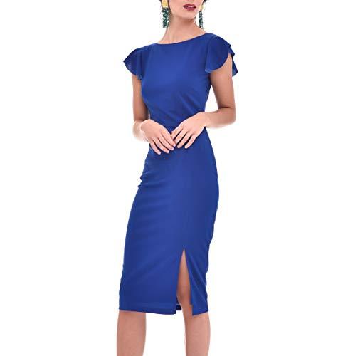 TONALA | Vestido Mujer Fiesta Coctel Boda Elegante Corto Liso Ajustado Punto Seda | Vestidos de Coctel para Bodas Mujer | Vestidos Gasa Cortos Fiesta, Vestidos de Coctel Mujer (Azul Pavo, s)