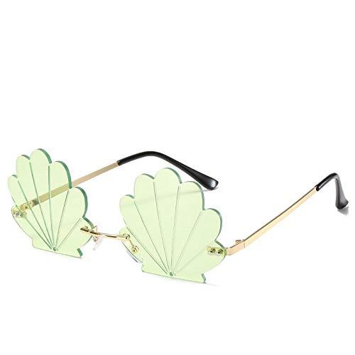 Gafas De Sol Hombre Mujeres Ciclismo Gafas De Sol De Plástico Sin Montura Vintage para Mujer, Gafas con Montura Triangular, Gafas De Sol Clásicas Retro para Exteriores, Verde
