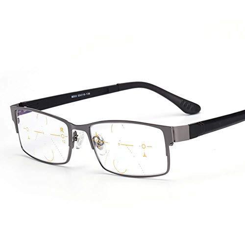 Rechthoekige Half-Frame leesbril, progressieve multifocale lens Tr-90 Flexibele Lens Benen Block Blue Light Reader,+2