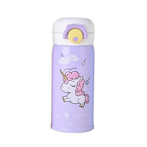 Botella duradera vacío de acero inoxidable Copa niños de dibujos animados patrón del unicornio taza aislada 500 ml de agua...