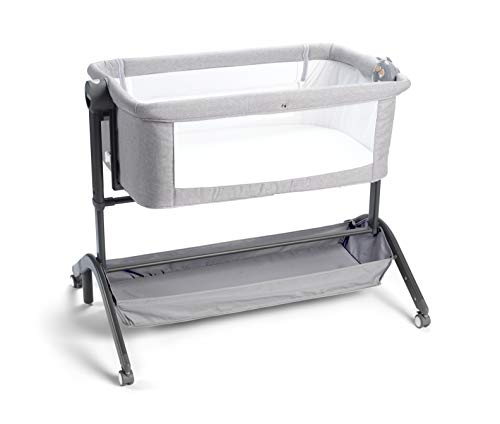 Nuby Sleep by Me Crib, Fold Away Travel Bedside Cot, Co-Sleeping, Suitable from 0 Months Plus, Includes White Noise and Music Machine