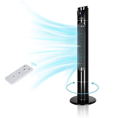 Oscillating Tower Fan with Remote Control, 3 Speed Option with LED Digital Screen, Quiet, 43 Inch, 12h Timer, Memory Function