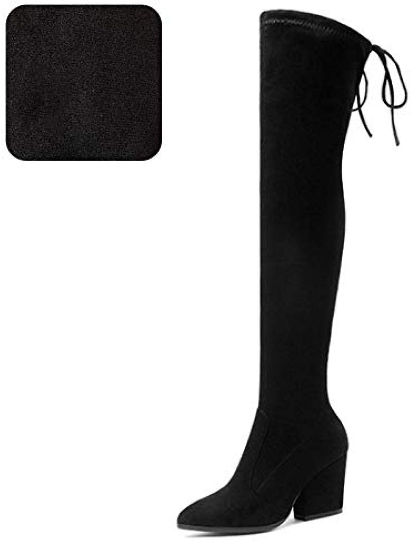HAOLIEQUAN Plus Größe 34-43 Frauen High Heels Heels Heels Stiefel Frau Schuhe Schnüren Über Knie Stiefel Frau Elegante Lange Winterstiefel Schuhe  9b8933