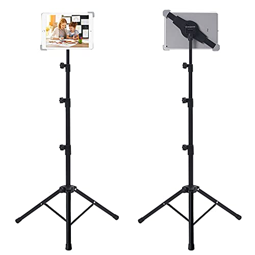IPad Tripod Stand, Raking Foldable Floor Height Adjustable Tablet Tripod Stand for iPad Mini, iPad Air, iPad 1,2,3,4 and Most 7-12 Inch Tablets, Carry Bag Included