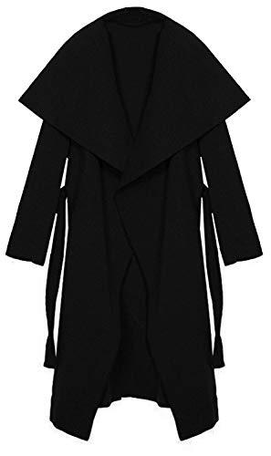 Kendindza Damen Mantel Trenchcoat mit Gürtel OneSize Lang und Kurz (OneSize, Schwarz Lang)