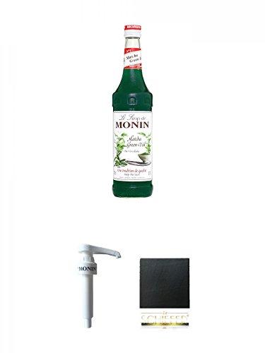 Monin Grüner Tee Matcha Sirup 0,7 Liter + Monin Dosier Pumpe für 0,7 & 1,0 Literflasche + Schiefer Glasuntersetzer eckig ca. 9,5 cm Durchmesser