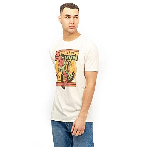 Marvel Herren 70's Spidey T-Shirt, Natur, M