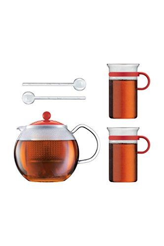 Bodum Teeset Assam - 5-teilig - 1,0l Teebereiter mit 2 0,3 L Glastassen und 2 Kunststofflöffel - Farbe Rot - AK1830-XY-Y16-2