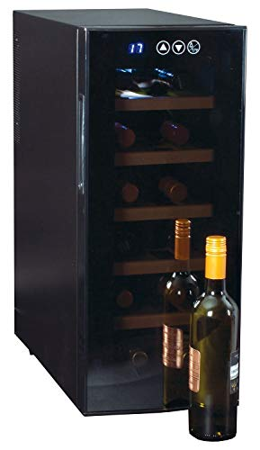 Koolatron WC12-35D 12 Bottle Capacity Thermoelectric Wine Cooler with Digital Temperature Controls - Vibration-free and Quiet Cooling Power, 5 Removable Shelves, Black (12 Bottle)
