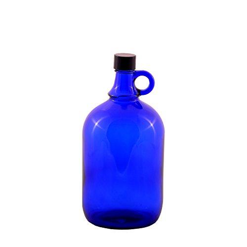 Glazen ballonfles Gallone blauw glas fles 2 liter of 5 liter schroefdop kunststof zwart - flesje met hengsel blauw glas, ideaal voor Aquadea kristal - warm water, twee liter of vijf liter