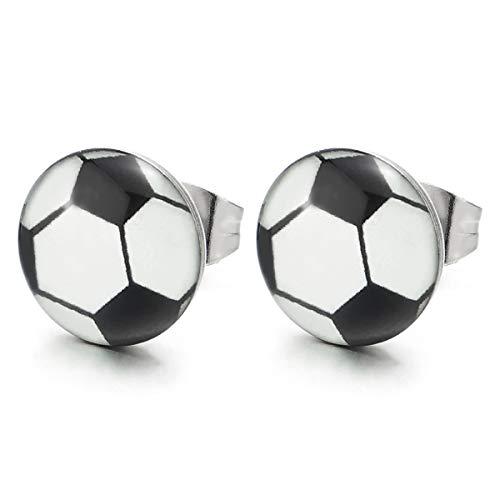 Nero Bianco Calcio Cerchio Cupola Orecchini da Uomo, Acciaio Inossidabile, 1 coppia