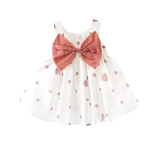 FRAUIT Kleid Mädchen Kinder Sommer Armellose O-Ausschnitt Print Floral Bow Princess Dress Baby Prinzessin Kleid Blumenmädchenkleid Chiffon Taufkleid Festlich