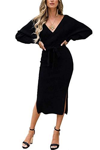 Vestido de Punto para Mujer Vestido de Punto Vestido de suéter Vestido de túnica de Manga Larga sin Espalda con Cuello en V Elegante con cinturón
