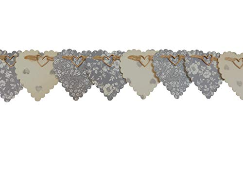 GREY BUNTING HEART GARLAND FLORAL AND HEART PRINTS 100% COTTON FABRIC, 2.5 METRES LONG