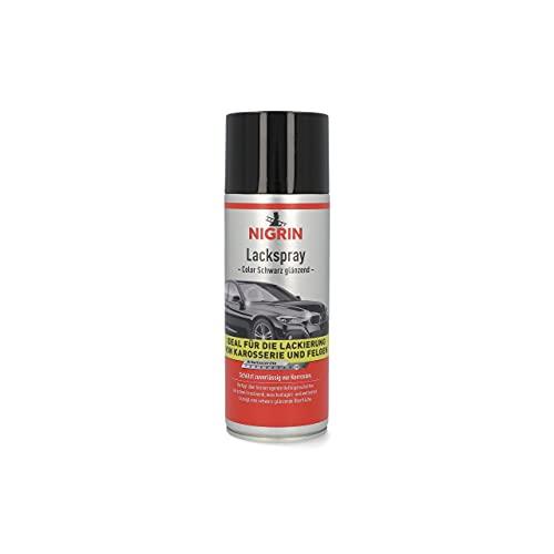 Nigrin 74113 Lackspray, schwarz glänzender Autolack, 400 ml, schützt Felgen und Karosserie vor Rost, schnell trocknend