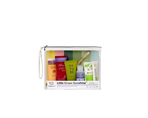 Little Green Sunshine by Flightbox - Pour Femmes - Trousse de toilette voyage BIO complète pour le voyage - Trousse de Toilette Transparente, Kit de Voyage, Sac Cosmétiques pour Femmes
