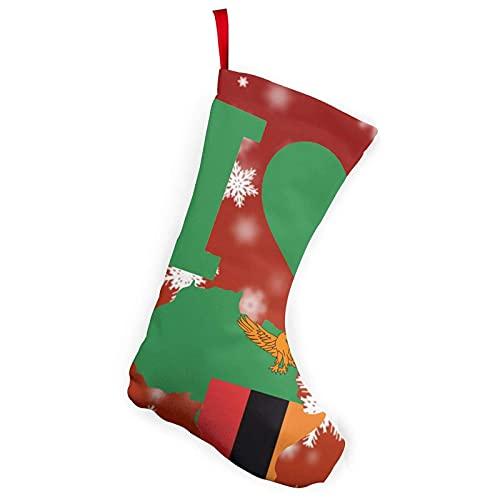 Playstation Controllers Gaming Joystick 25,4 cm Weihnachtsstrümpfe Heimdekorationen Geschenke I Love Sambia Flagge Afrika Karte