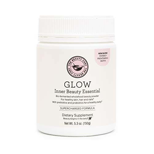 The Beauty Chef | Glow Inner Beauty Essential | Vegan Powder for Gut Health, Digestion, and Glowing Skin | with 18 Whole Foods, Probiotics, Biotin, Zinc, Vitamin C, Provitamin A (5.3 oz, 150 g)