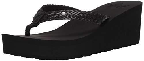 Roxy Women's Mellie Wedge Sandal, Black, 9 M US