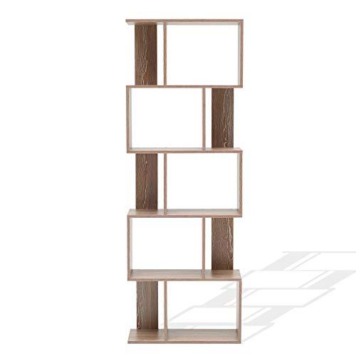 Rebecca Mobili Libreria 5 Ripiani, scaffale Legno Marrone, arredo Contemporaneo, per Salone Ufficio - Misure: 172,5 x 60 x 24 cm (HxLxP) - Art. RE4789