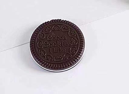 HANBIN Espejo de chocolate portátil plegable peine maquillaje espejo peine de espejo portátil modelo de galleta de galleta Dark Brown