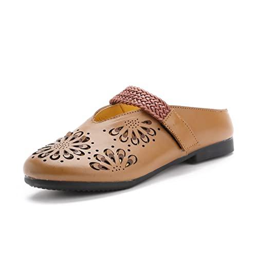 Sandalias de tacón para Mujer Sandalías de Cuero Transpirables Huecas Huecas Huecas de la Capa Superior del Verano de la Capa Superior (Color : Claret, Size : 39 EU)