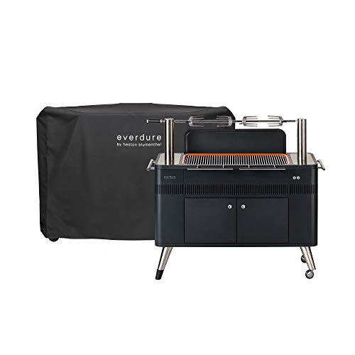 Everdure by Heston Blumenthal HUB 54-Inch Charcoal Grill & Cover Bundle with Patented Built-in Rotisserie System & Quick Electric Ignition