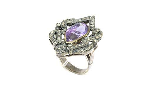 Rajasthan Gems Ring Sterling-Silber 925 echte Diamanten im Rosenschliff Amethyst 05