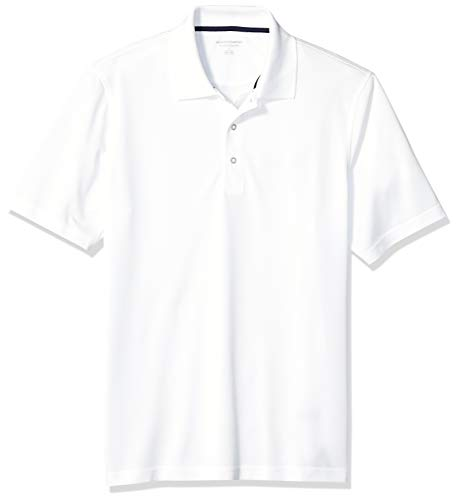 Amazon Essentials Men's Regular-Fit Quick-Dry Golf Polo Shirt, White, Small