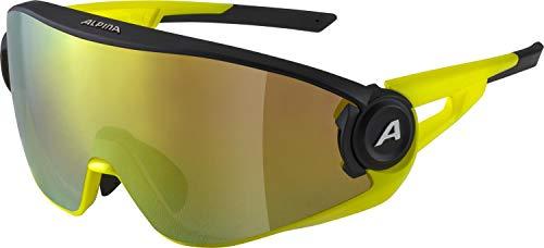 ALPINA Unisex - Erwachsene, 5W1NG Q+CM Sportbrille, black matt-neon yellow, One size