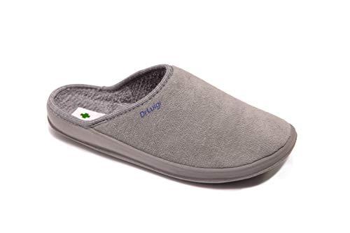 DrLuigi Medizinische Schuhe für Damen - Hausschuhe Memory Schuhe Innenseite Außenseite Italienische Baumwolle - Made in EU - für Menschen mit Durchblutungsstörungen, Grau, 40