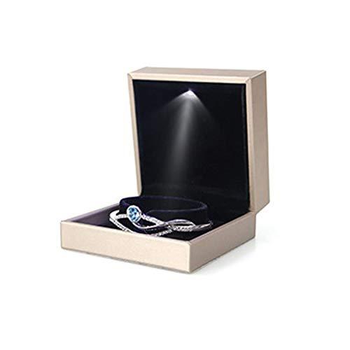 Mengmengda Pulsera de joyería con luz LED, collar de boda, anillo de compromiso, caja de almacenamiento