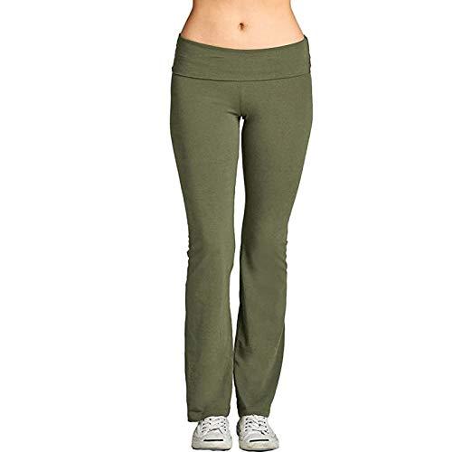 HFStorry Damen Stretch Yoga Leggings Fitness Laufen Fitnessstudio in voller Länge Sport Aktive Hosen Einfarbige Hüfthebende Faltbare Yogahose Jogginghose Ausgestellte Leggings