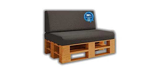 Pack Ahorro Asiento + Respaldo de Cojines para Sofa de palets / europalet | Desenfundable | Interior y Exterior | Color Gris Nautico |100% Impermeable | Espuma de Alta Densidad.