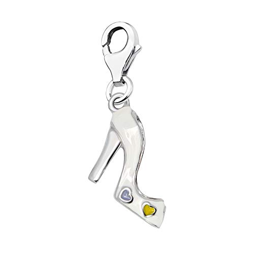 Quiges Charm Anhänger Weiß Emaille 3D Herzen Pump Hacke Schuh 925 Silber mit Karabinerverschluss für Bettelarmband