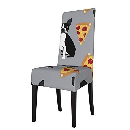 KAZOGU 2 fundas lavables para sillas de comedor Boston Terrier, color gris, para decoración de sillas de ceremonia